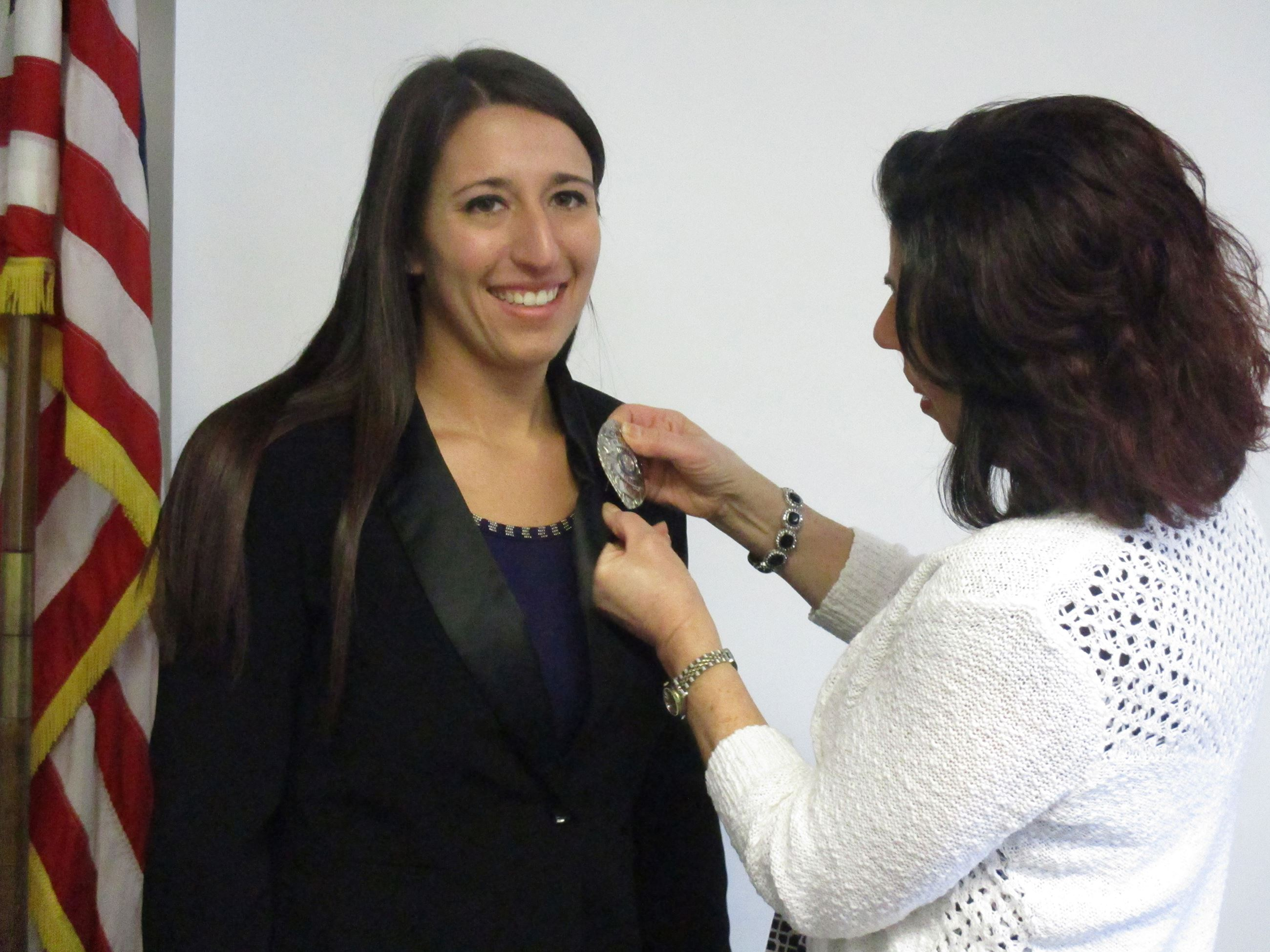 Officer Alysha Pirog badge pinning
